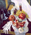 Still-life with pomegranates and a rose